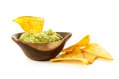 Guacamole and Tortilla Chips Royalty Free Stock Image