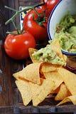 Guacamole und Nachos Stockfotos