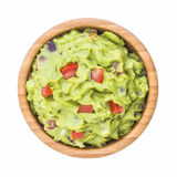 Guacamole. In Wooden Bowl Isolated on White Background stock images