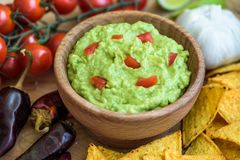 Guacamole with Tortilla Chips Royalty Free Stock Images
