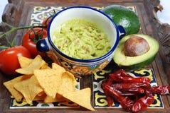 Guacamole y nachos Imagen de archivo libre de regalías