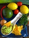 Guacamolebestandteile direkt oben stockbilder