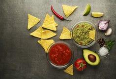 Guacamolesås och salsa Arkivbilder
