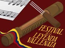 Guacharaca, вилка и примечания музыки готовые для фестиваля сказания Vallenato, иллюстрации вектора бесплатная иллюстрация