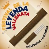 Guacharaca и вилка с длинной тенью для фестиваля сказания Vallenato, иллюстрации вектора иллюстрация штока