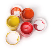 Guache azul, amarelo, vermelho Imagens de Stock