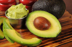 Guacomole with avocado royalty free stock photo