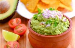 Guacomole e chip Fotografia Stock