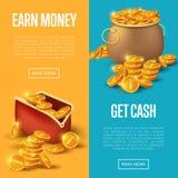 Guadagni i soldi ed ottenga i manifesti dei contanti Immagini Stock Libere da Diritti