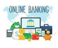 Guadagni il concetto piano moderno dei soldi online illustrazione di stock