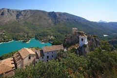 Guadalest lake and village. Royalty Free Stock Image