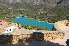 Guadalest lake and village. Stock Photography