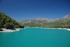Guadalest reservoir. The beautiful scenery and colors of guadalest´s reservoir, costa blanca, spain Stock Photo