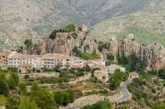 Guadalest slott, Costa Blanca, landskap av Alicante, Comunidad Valenciana, Spanien Europa Arkivfoton