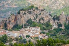 Guadalest slott, Costa Blanca, landskap av Alicante, Comunidad Valenciana, Spanien Europa Arkivfoto