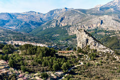 Guadalest valley with a Rock of Alcala Stock Images