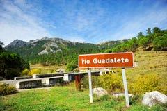Guadalete河,山脉de格拉萨莱马自然公园,卡迪士省,西班牙的诞生 库存照片