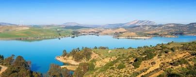 Guadalhorce-Guadalteba reservoir in  mountains Stock Photo