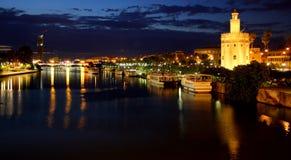 SEVILLE. Night photo of the Guadalquivir River - Seville stock photo