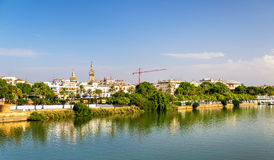 Guadalquivir river embankment in Seville, Spain Royalty Free Stock Images