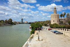 Guadalquivir River and Gold Tower in Seville royalty free stock photography