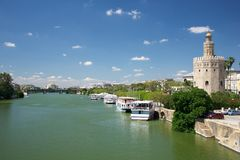 Guadalquivir river at Seville royalty free stock images