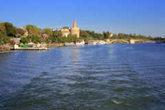 Guadalquivir river, Seville, Andalusia, Spain. Guadalquivir river water tower Seville Andalusia Spain royalty free stock photography