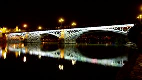 Guadalquivir river in Seville at Night. stock video