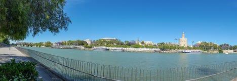 Guadalquivir River in Seville, Spain . Panoramic view stock photo