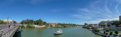 Guadalquivir River in Seville, Spain . Panoramic view. Guadalquivir River in Seville, Spain .Andalucia. Panoramic view stock photography