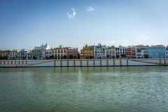 The Guadalquivir river in Seville, Spain, Europe. On a warm sunny day with blue sky royalty free stock photos