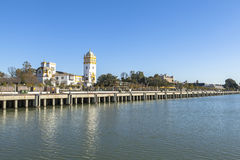 Guadalquivir river at Seville, Spain. This picture is taken in Seville. Seville is the capital and largest city of the autonomous community of Andalusia and the royalty free stock photo