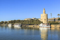 Guadalquivir river at Seville, Spain. This picture is taken in Seville. Seville is the capital and largest city of the autonomous community of Andalusia and the royalty free stock images