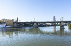 Guadalquivir river at Seville, Spain Stock Image