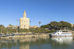 Guadalquivir river in Seville, Spain. This picture is taken in Seville. Seville is the capital and largest city of the autonomous community of Andalusia and the stock images