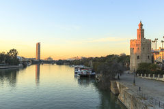 Guadalquivir river in Seville, Spain. This picture is taken in Seville. Seville is the capital and largest city of the autonomous community of Andalusia and the stock photo