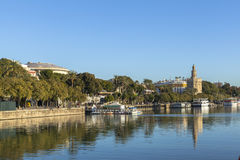 Guadalquivir river in Seville, Spain. This picture is taken in Seville. Seville is the capital and largest city of the autonomous community of Andalusia and the royalty free stock photography