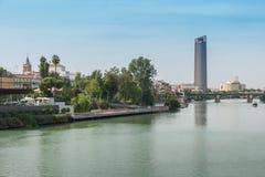 Guadalquivir river Seville Tower Triana bridge Seville Spain.  royalty free stock photos