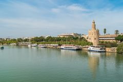 Guadalquivir river Seville Tower Triana bridge Seville Spain royalty free stock photos