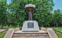 Guadalupe, canal pequeno, Francia - puede 10 2010: monumento auxiliar Imágenes de archivo libres de regalías