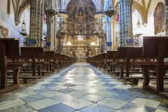 Guadalupe Monastery Church inomhus Arkivfoto