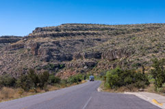 Guadalupe mountains,. Riding through the pinkish ridges of Guadalupe National park on motorhome, Texas, USA Stock Image