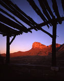 Guadalupe Mountains Sunrise (V). Guadalupe Mountains at sunrise photographed from an abandoned road side rest area royalty free stock images