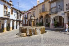 Three jets fountain square. Guadalupe, Spain Royalty Free Stock Images