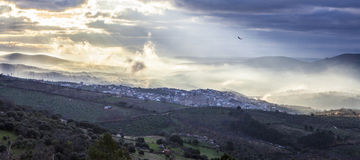 Guadalupe town at sunrise, Spain. Panoramic Stock Photo