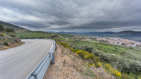Guadalupe village and road with cloudy sky Royalty Free Stock Image