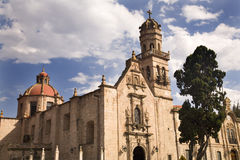 Guadalupita Church Morelia Mexico Outside. Overview Dome and Steeple royalty free stock photos