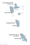 Guadeloupe, Dominica, Martinique political map Royalty Free Stock Images