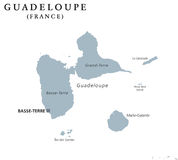 Guadeloupe political map Royalty Free Stock Photos
