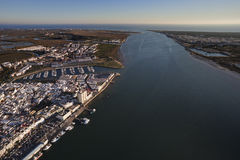 The Guadiana river. Aerial view of the mouth of the Guadiana river Royalty Free Stock Image